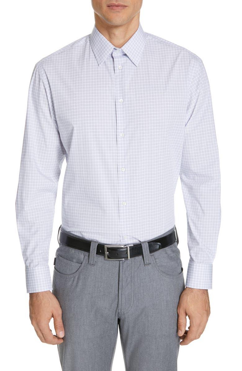 EMPORIO ARMANI Modern Fit Stretch Check Dress Shirt, Main, color, PLAID BLUE