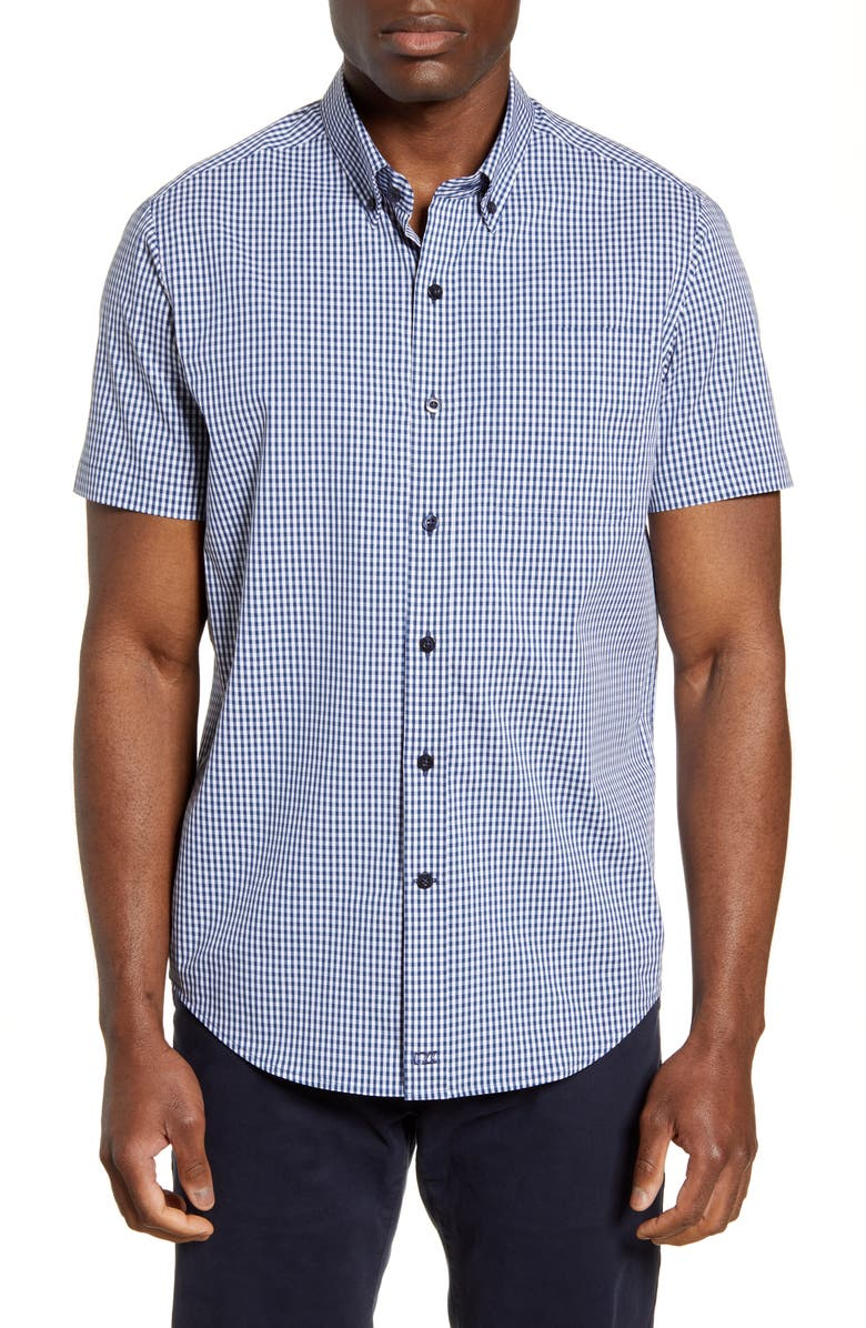 CUTTER & BUCK Anchor Classic Fit Gingham Shirt, Main, color, INDIGO