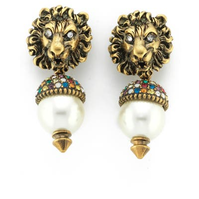 Gucci Lion Head Drop Earrings