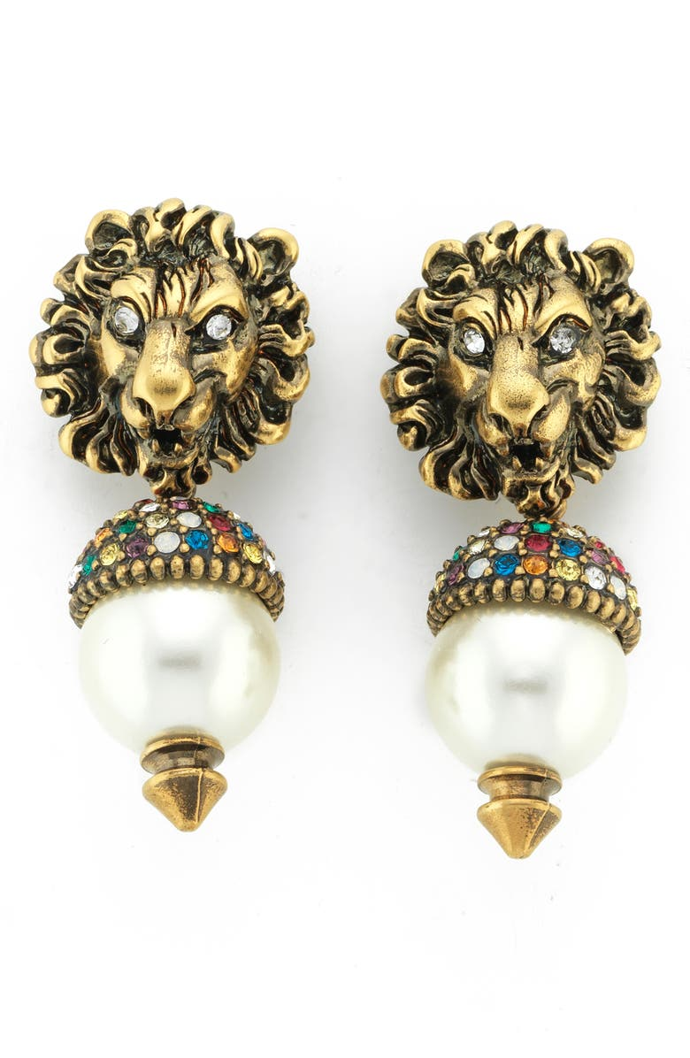 GUCCI Lion Head Drop Earrings, Main, color, CRYSTAL/ GOLD/ PEARL