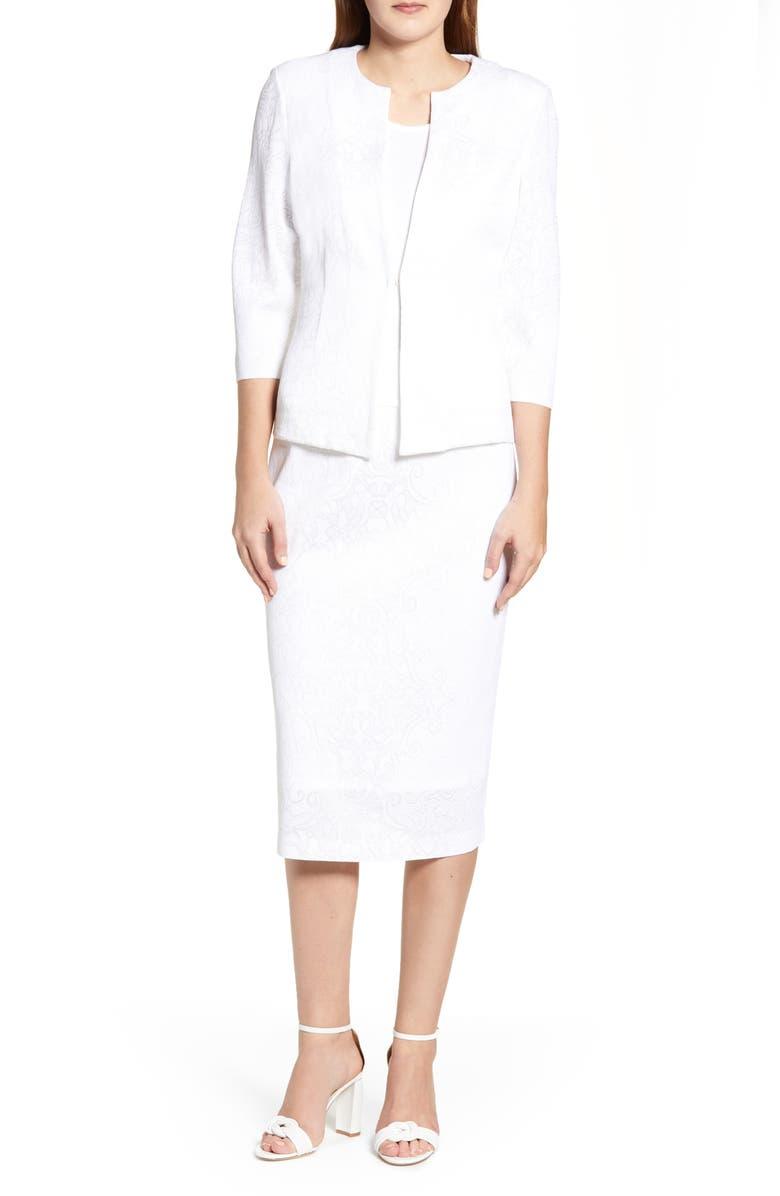 MING WANG Lace Jacquard Jacket, Main, color, WHITE