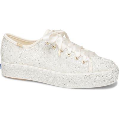 Keds X Kate Spade New York Triple Kick Allover Glitter Sneaker- Ivory