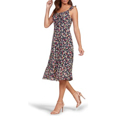 Cupcakes And Cashmere Hailey Floral Midi Dress, Black