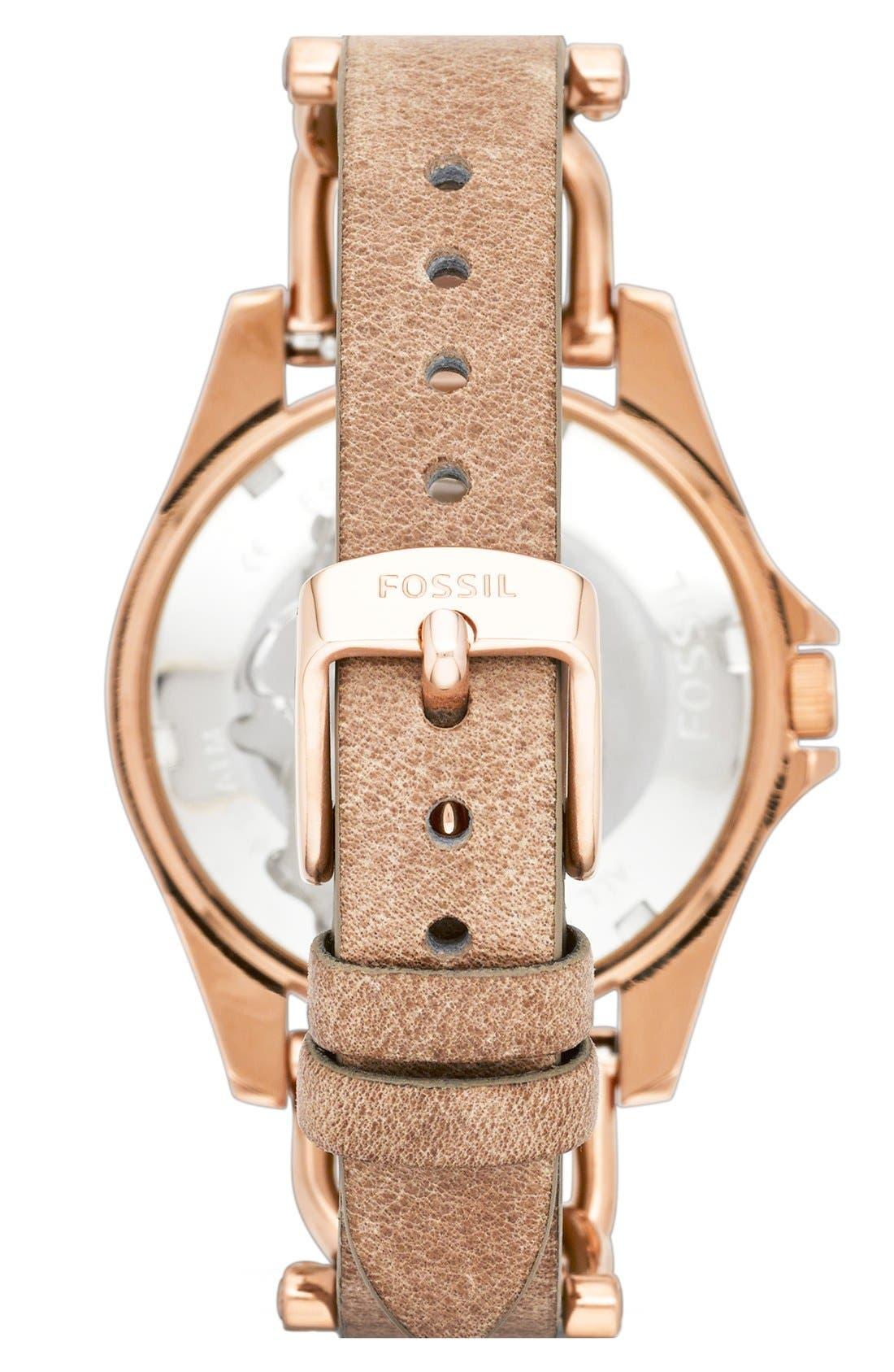 ,                             'Riley' Crystal Bezel Leather Strap Watch, 38mm,                             Alternate thumbnail 2, color,                             BONE/ ROSE GOLD