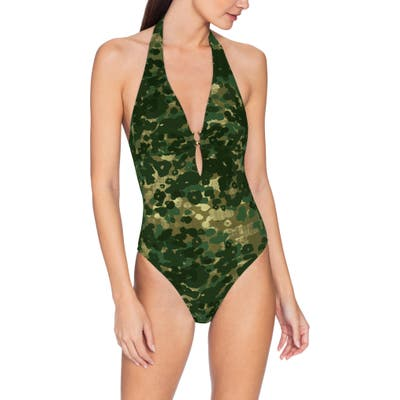 Robin Piccone Eden One-Piece Halter Camo Swimsuit