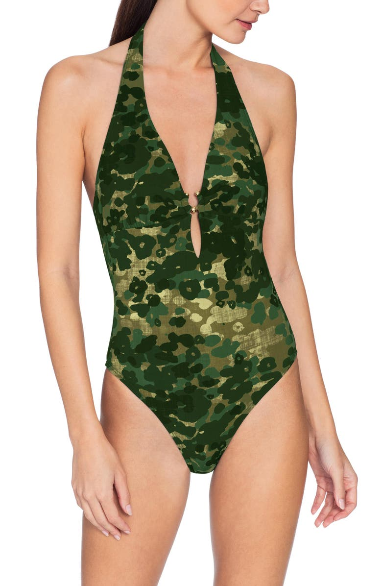 ROBIN PICCONE Eden One-Piece Halter Camo Swimsuit, Main, color, GREEN MULTI