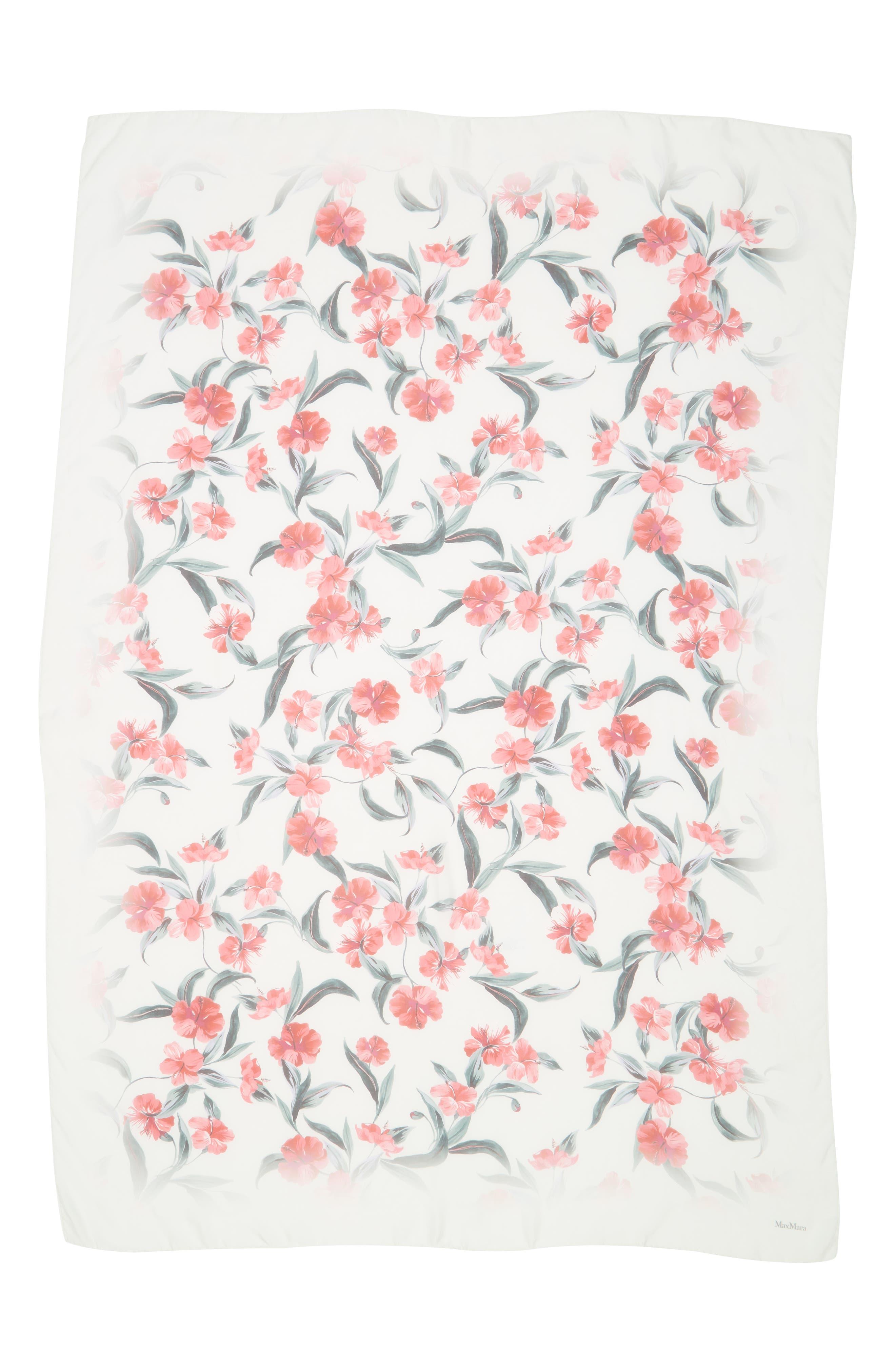 ,                             Dimma Floral Print Silk Scarf,                             Alternate thumbnail 3, color,                             POWDER