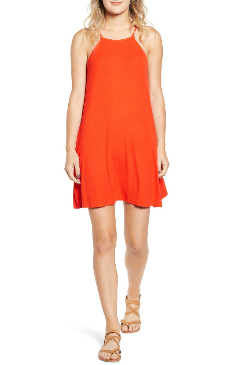 BP. High Neck Ribbed Minidress, Main, color, RED FIERY