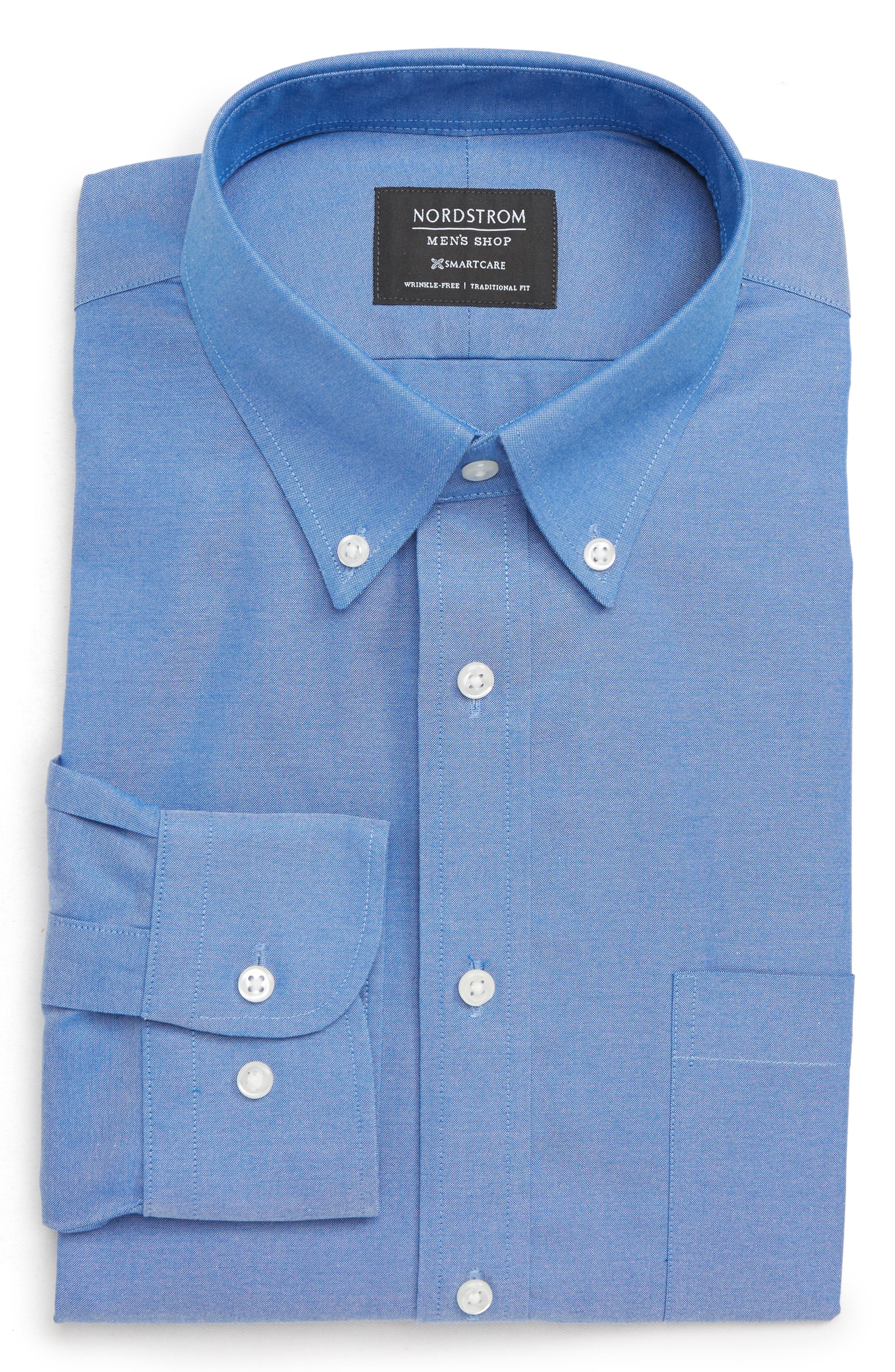 Nordstrom Shop Smartcare(TM) Traditional Fit Pinpoint Dress Shirt 32/33 - Blue