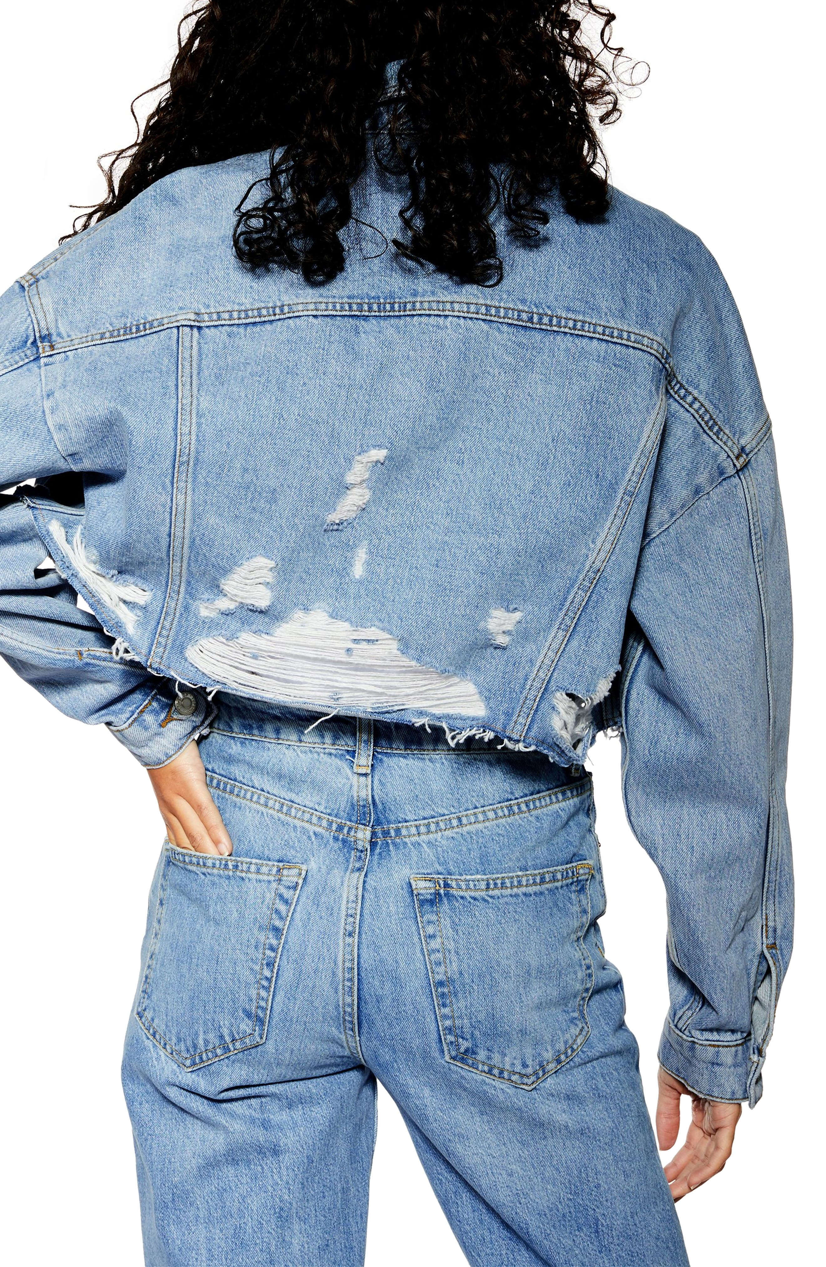 ,                             Hacked Ripped Denim Jacket,                             Alternate thumbnail 2, color,                             MID DENIM