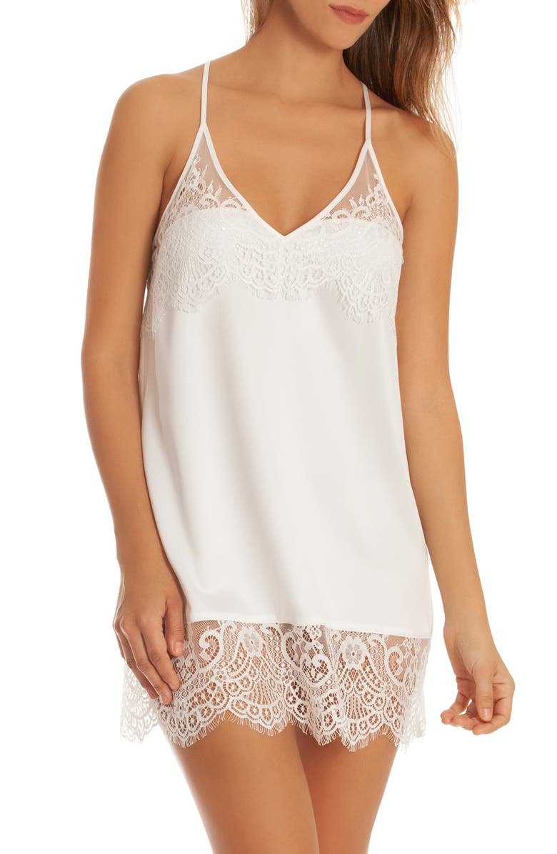 IN BLOOM BY JONQUIL Lace Trim Satin Chemise, Main, color, OFF-WHITE