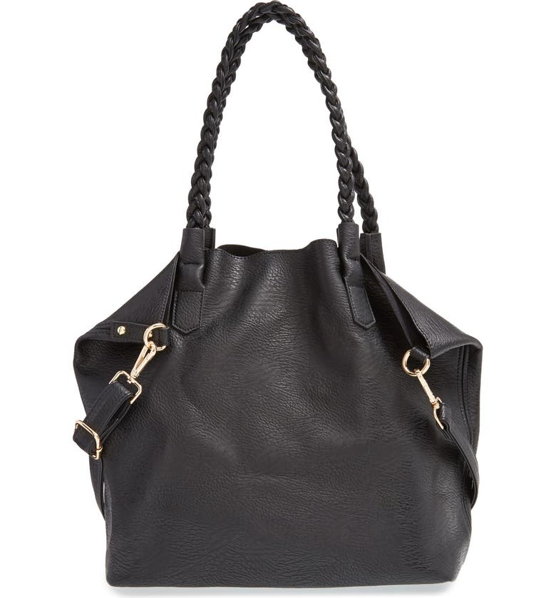 STREET LEVEL Slouchy Faux Leather Tote with Pouch, Main, color, 001