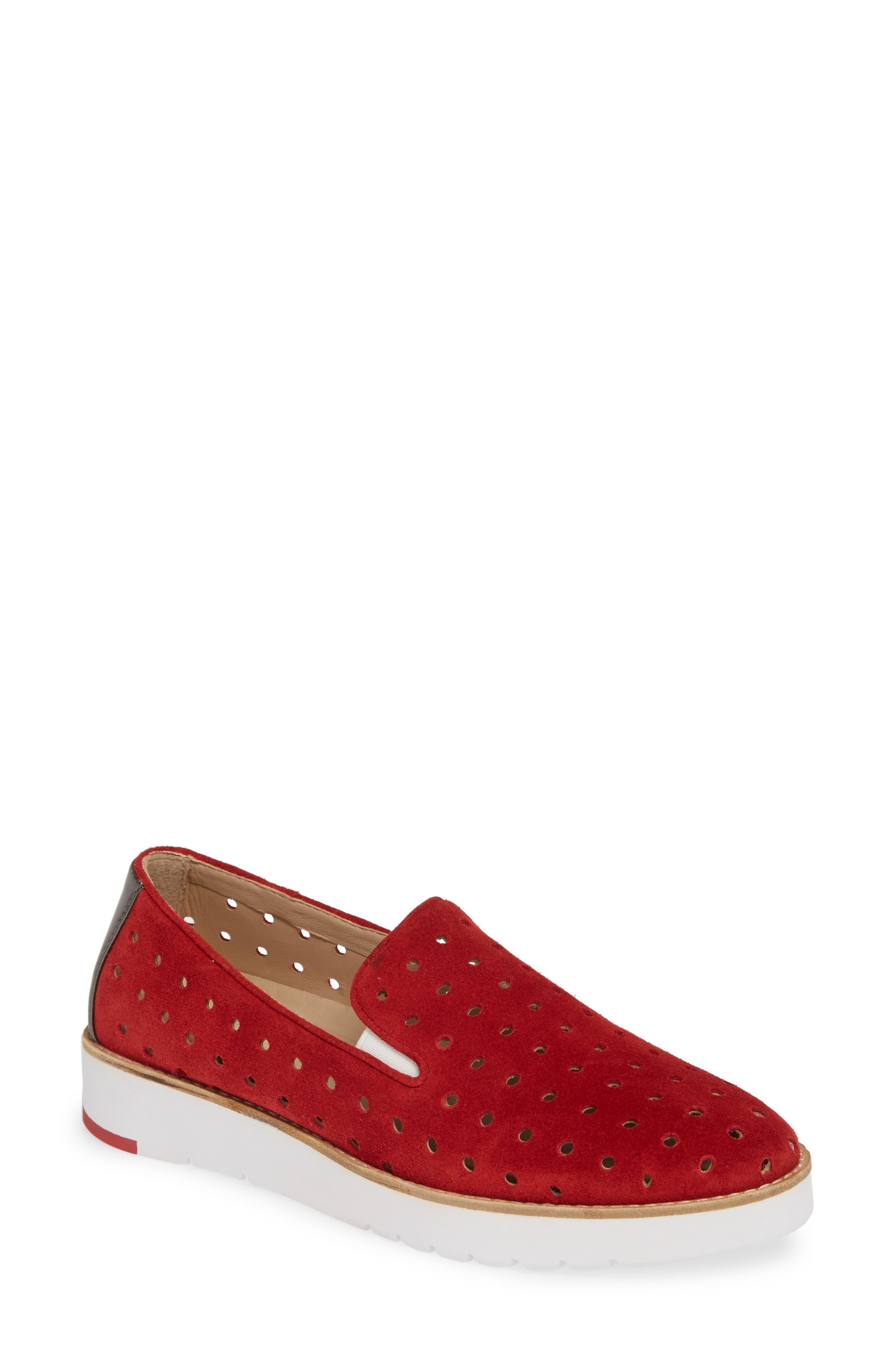 Johnston & Murphy Penelope Perforated Slip-On Sneaker, Red