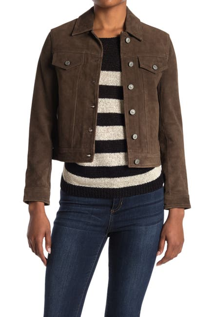 Image of ALLSAINTS Leather Crop Trucker Jacket