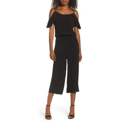 Fraiche By J Ruffle Crop Jumpsuit, Black