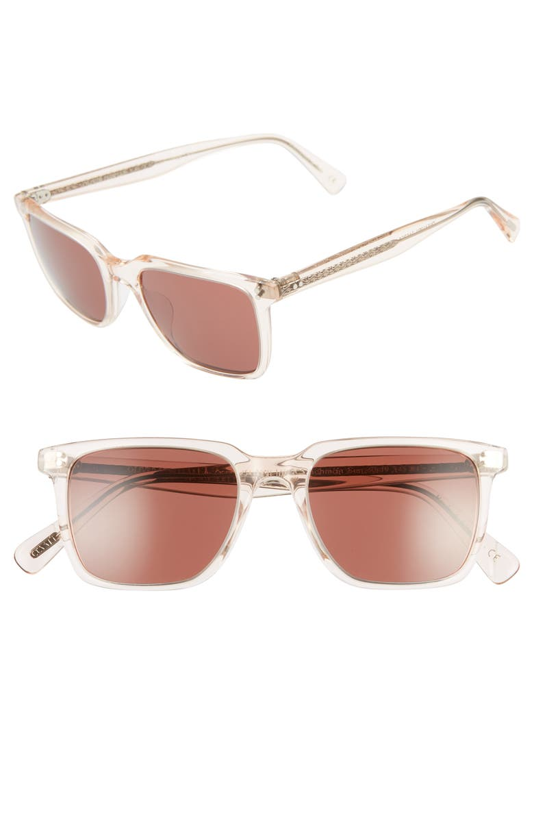 OLIVER PEOPLES Lachman 50mm Rectangle Sunglasses, Main, color, LIGHT SILK/ ROSEWOOD