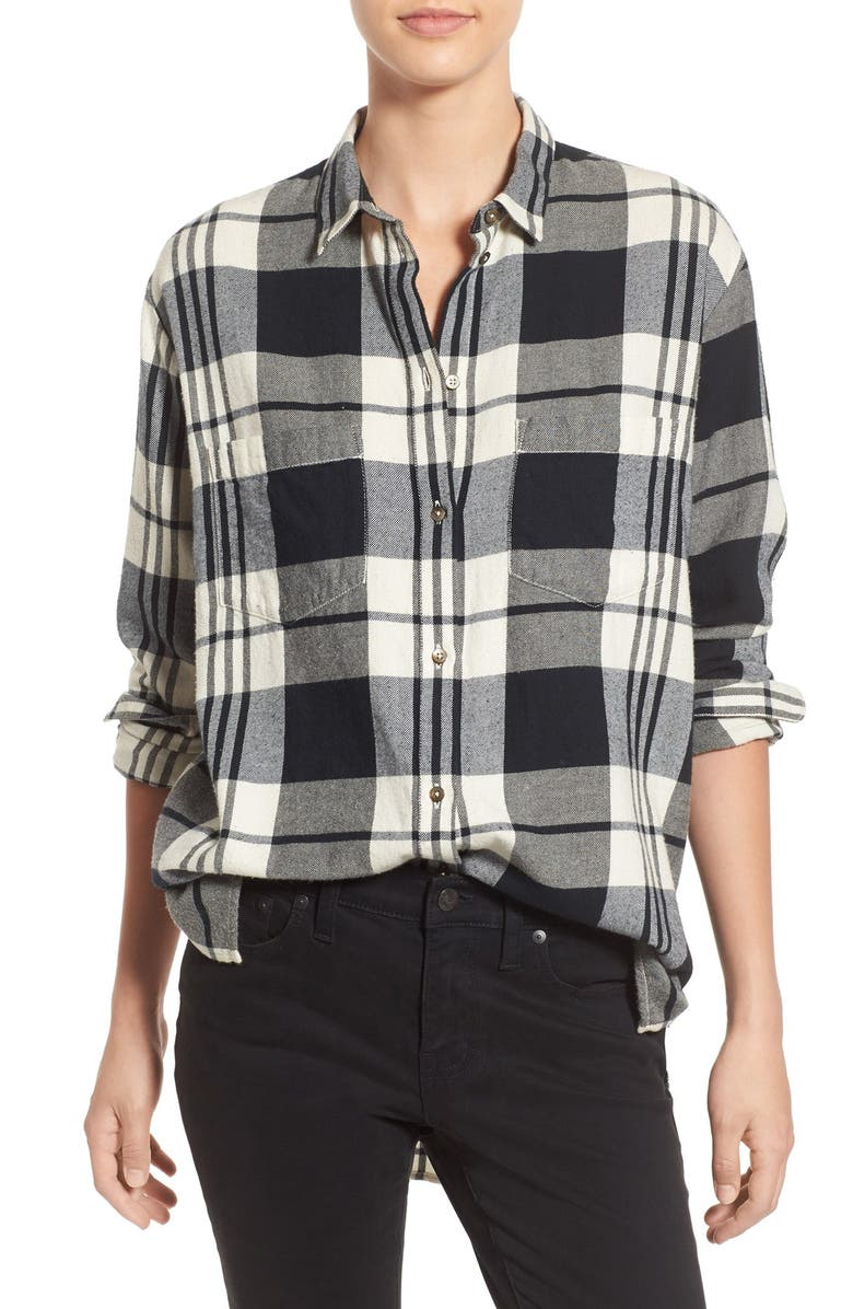 MADEWELL 'Ex Boyfriend' Plaid Oversize Cotton Shirt, Main, color, 007