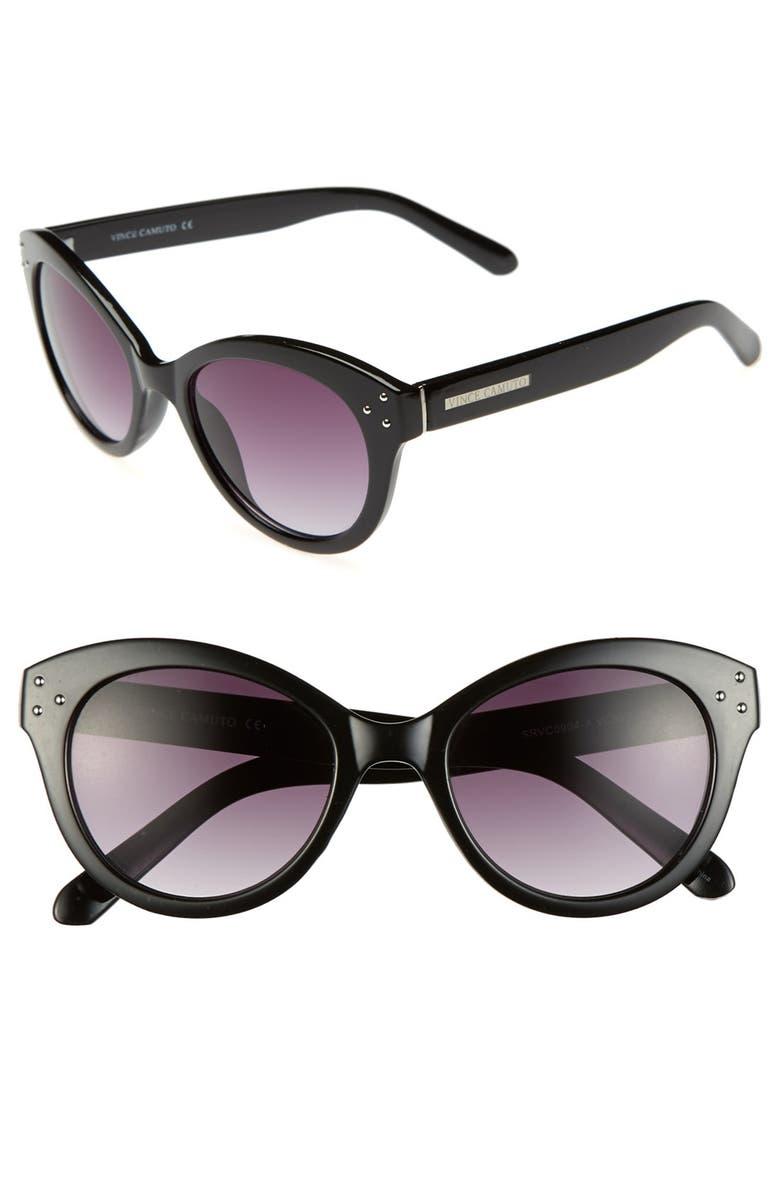 VINCE CAMUTO 51mm Retro Cat Eye Sunglasses, Main, color, Black