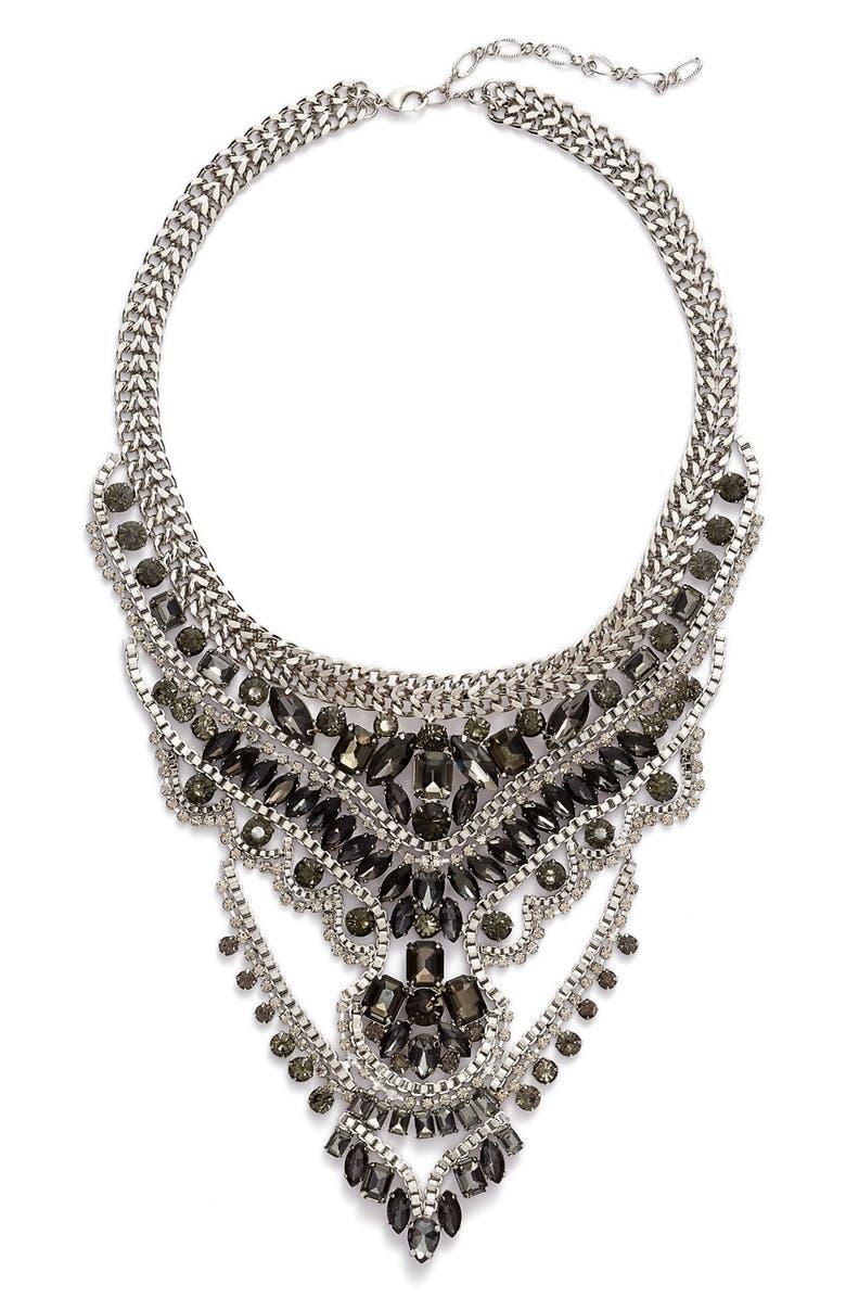 CRISTABELLE Multistrand Crystal Bib Necklace, Main, color, 001