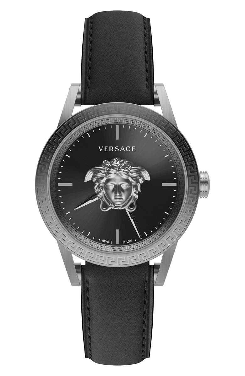 VERSACE Men's Palazzo Empire Leather Strap Watch, 43mm, Main, color, STAINLESS STEEL