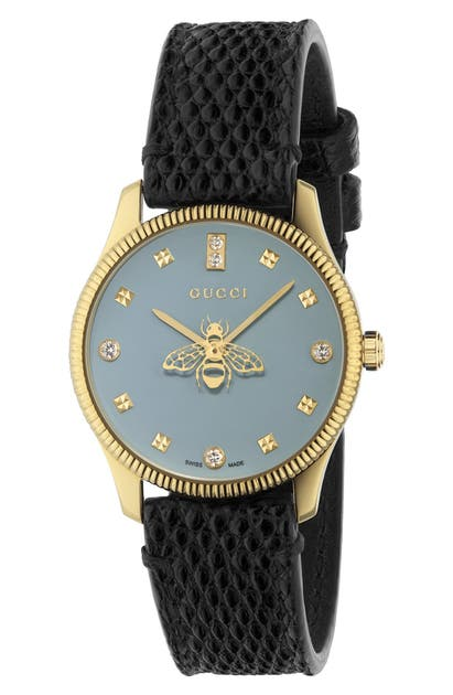 GUCCI DIAMOND G-TIMELESS BEE LEATHER STRAP WATCH, 30MM