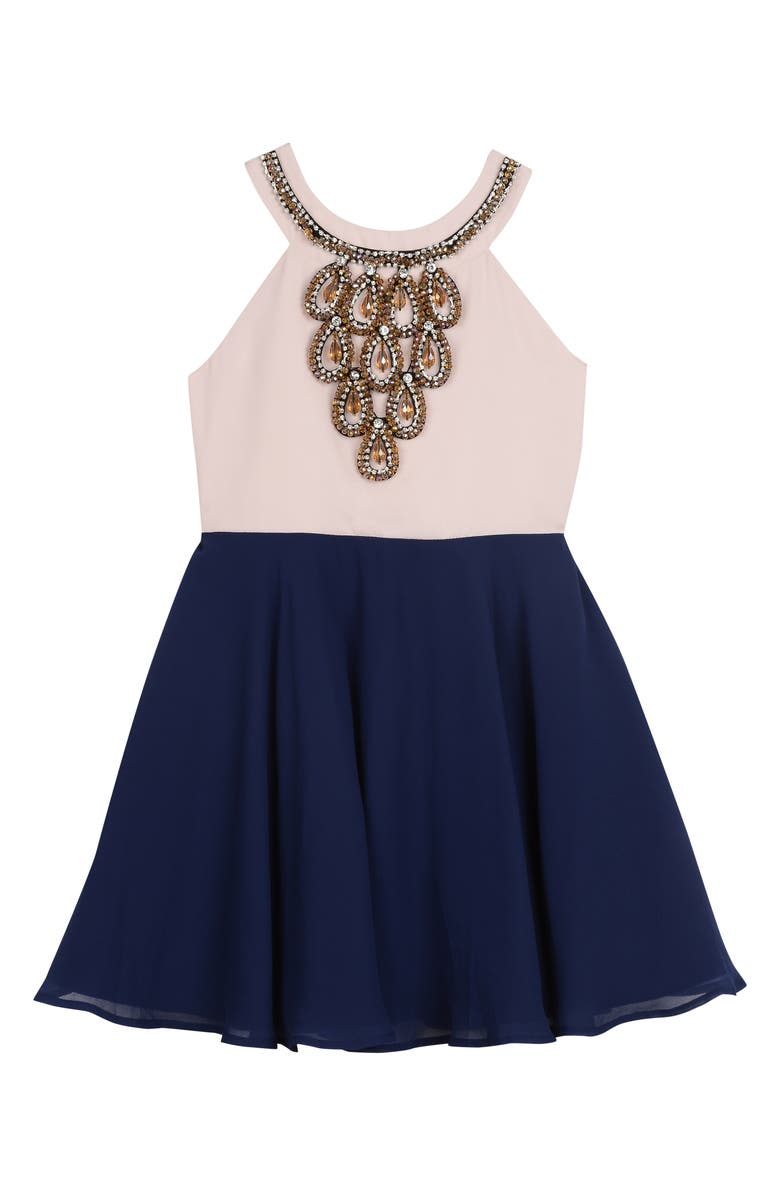 PIPPA & JULIE Crystal Embellished Chiffon Dress, Main, color, BLUSH