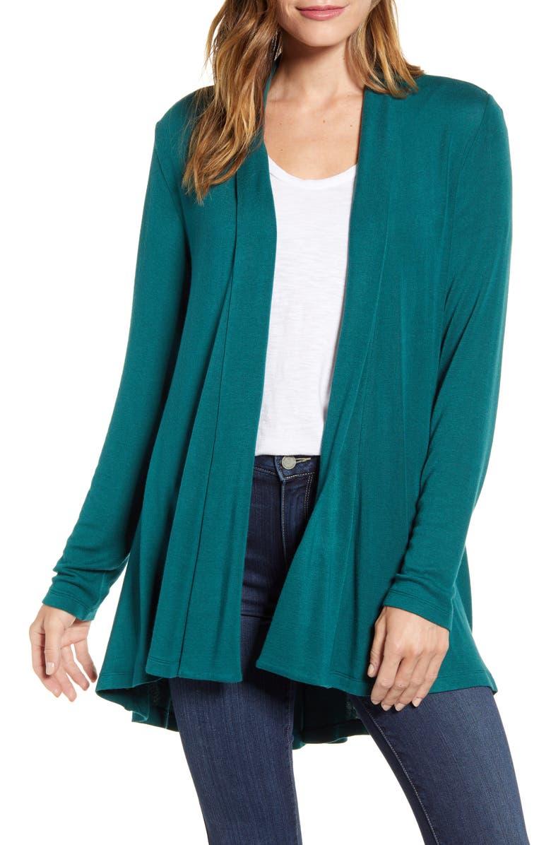 BOBEAU High/Low Jersey Cardigan, Main, color, EVERGREEN