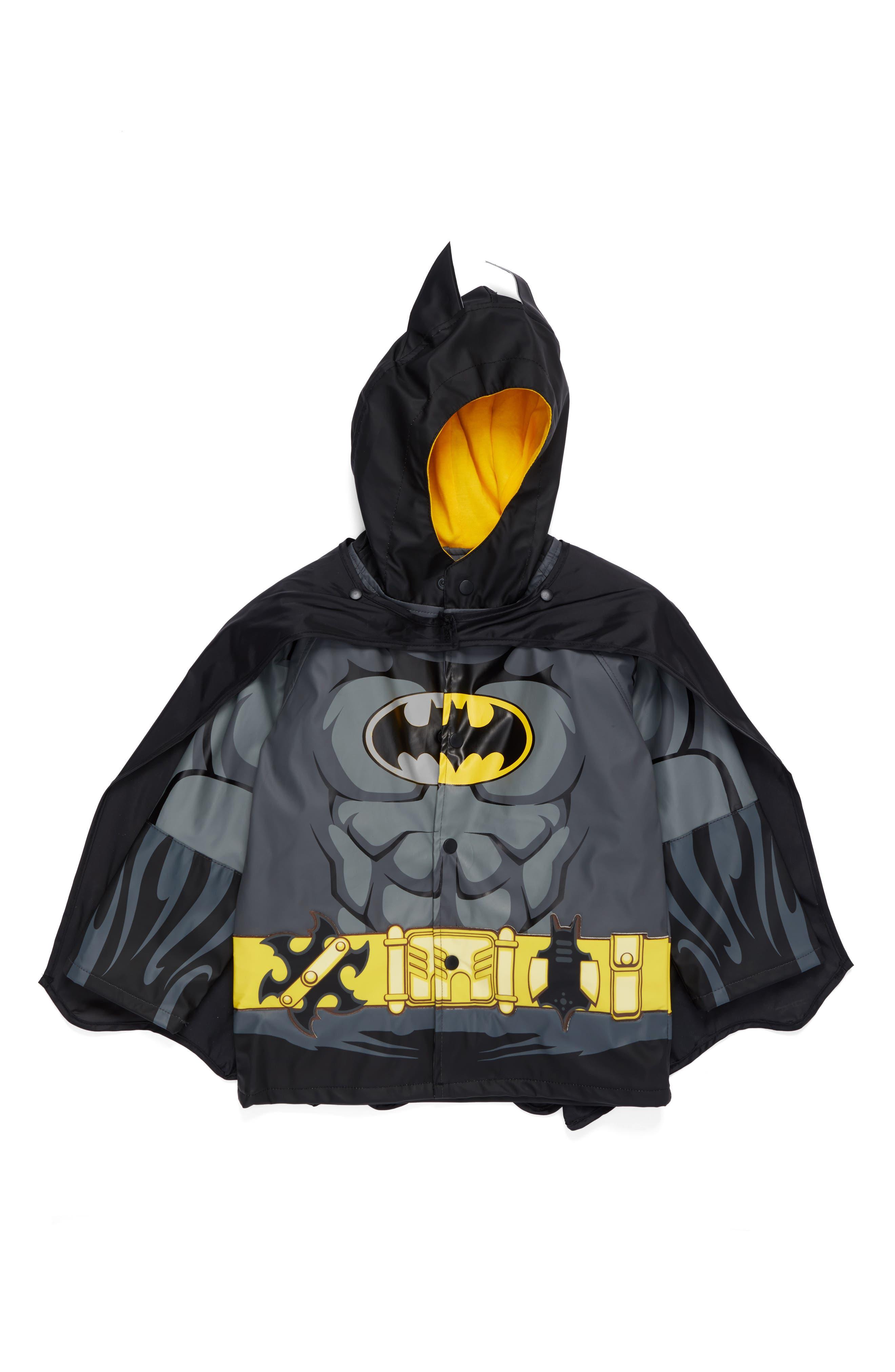 ,                             Batman Everlasting Hooded Raincoat,                             Main thumbnail 1, color,                             BLACK