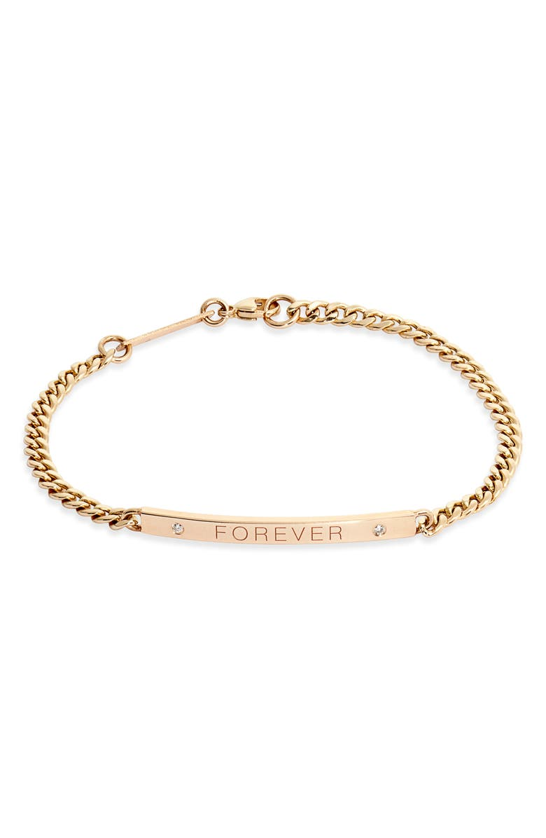 ZOË CHICCO Medium Curb Chain ID Bracelet, Main, color, YELLOW GOLD