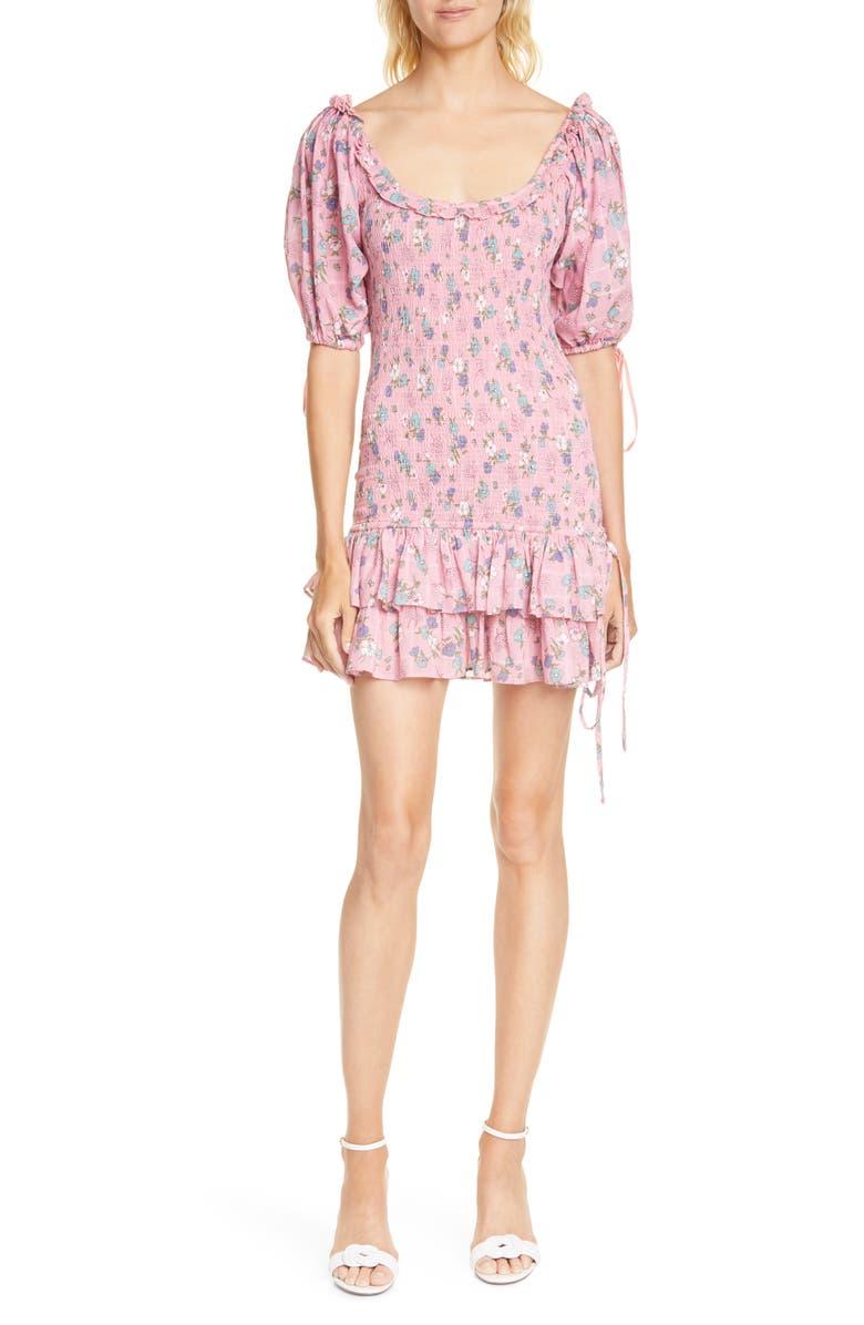 LOVESHACKFANCY Violet Smocked Minidress, Main, color, HOLLYWOOD PINK