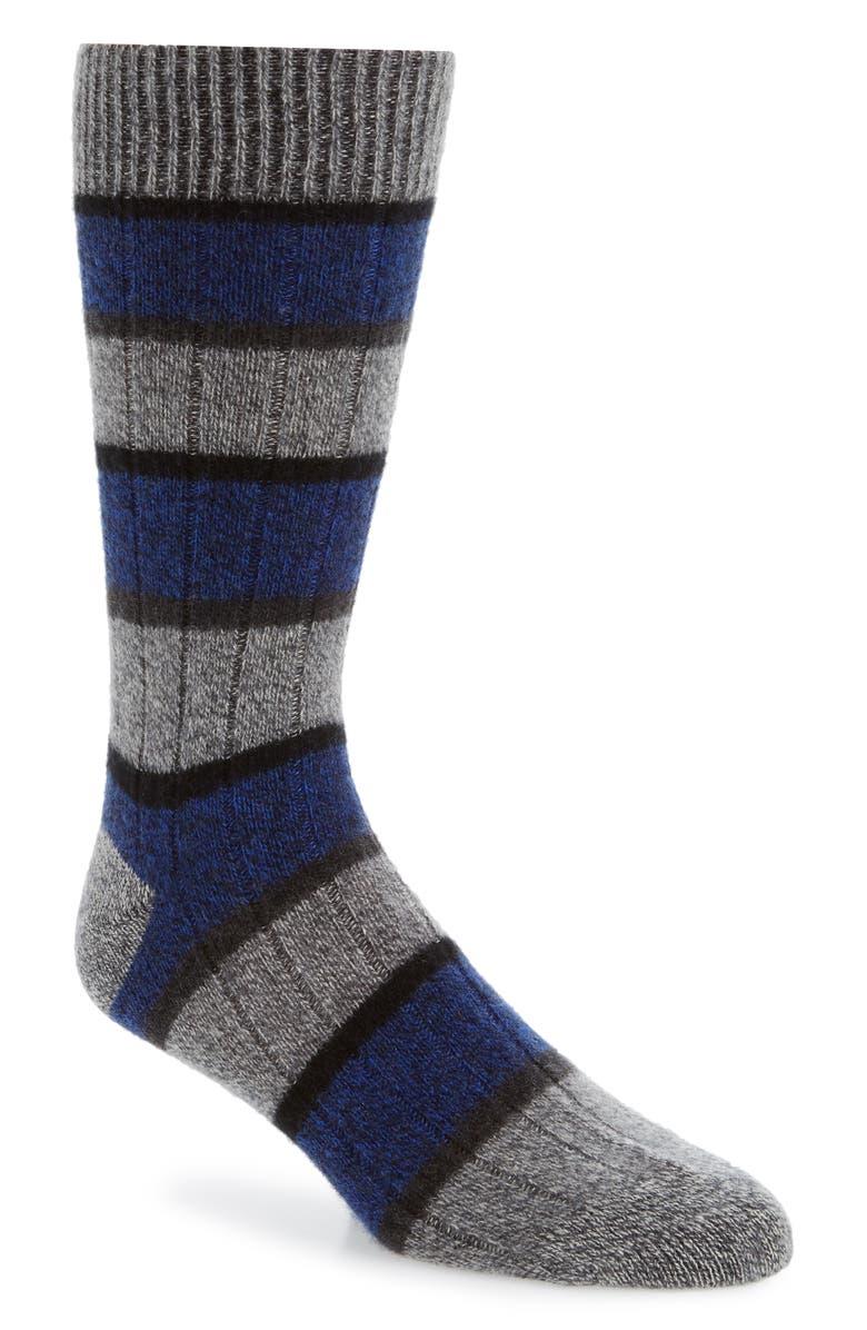 PANTHERELLA Stripe Cashmere Blend Socks, Main, color, CHARCOAL