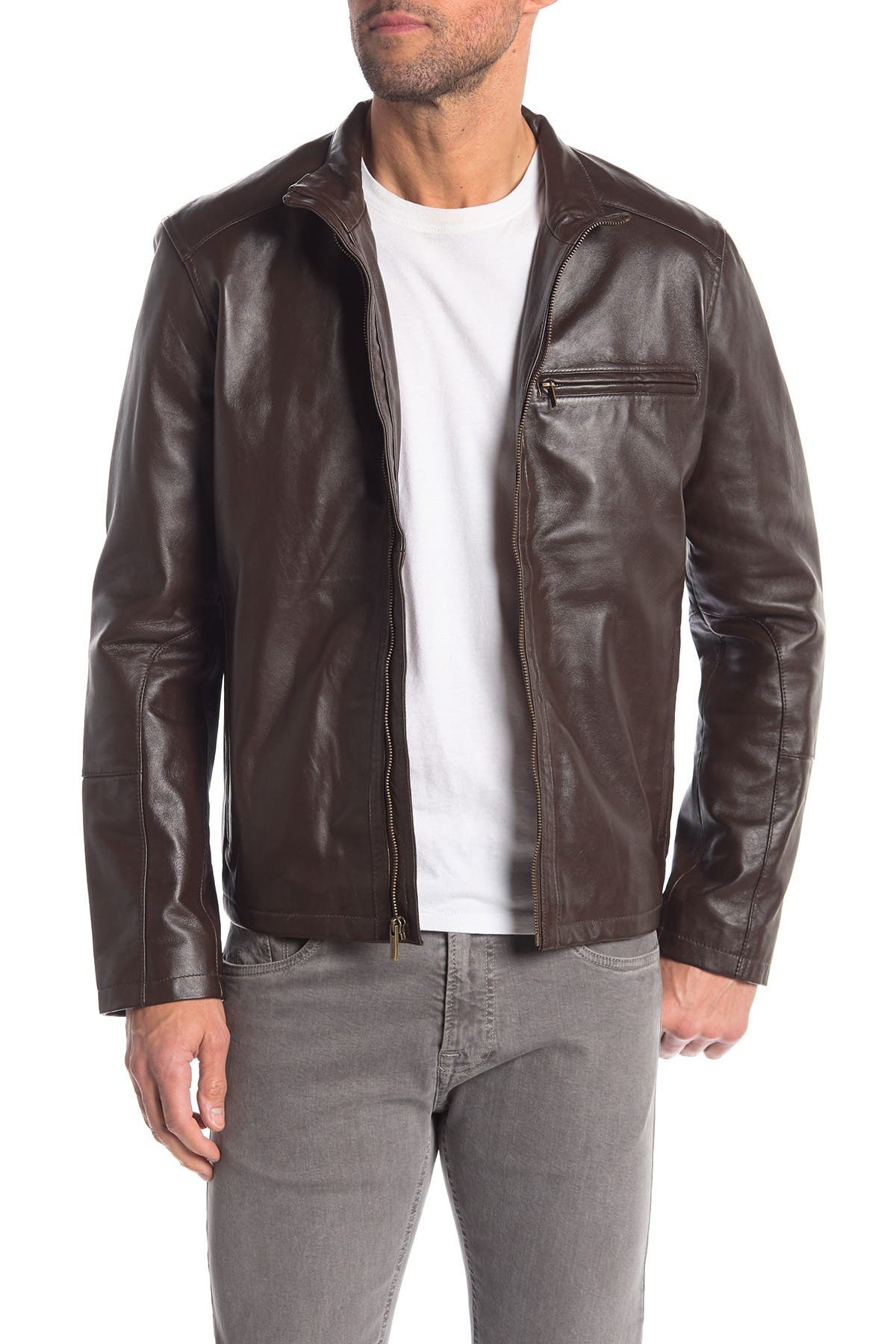 Image of Cole Haan Classic Leather Moto Jacket