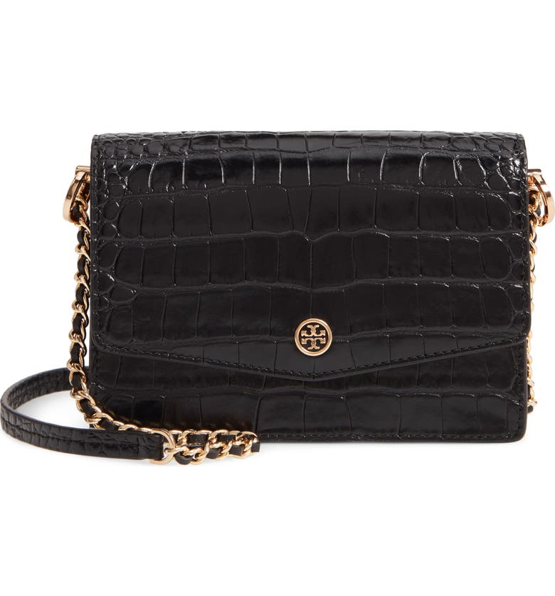 TORY BURCH Robinson Embossed Leather Shoulder Bag, Main, color, 001