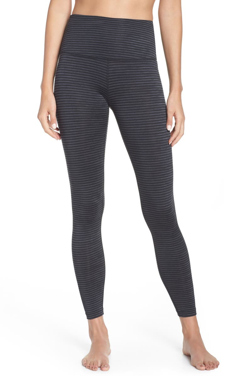 BEYOND YOGA True to Stripe High Waist Leggings, Main, color, 001