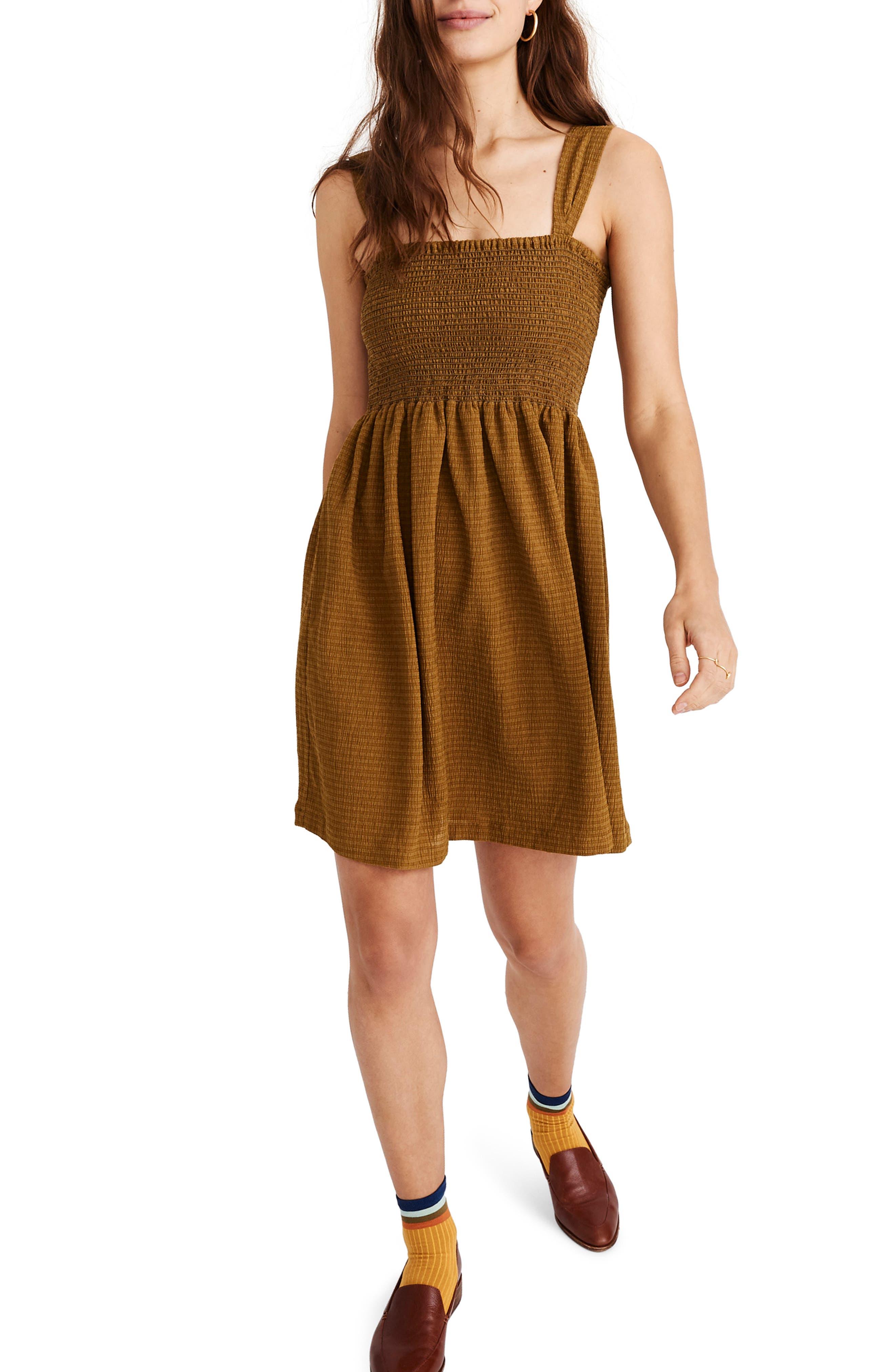 Madewell Texture & Thread Smocked Dress, Green