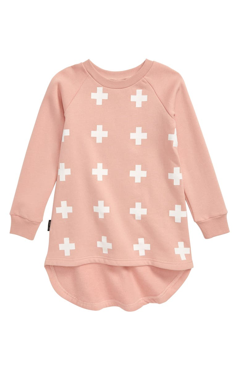 TINY TRIBE Cross Dip Back Tunic Top, Main, color, PINK