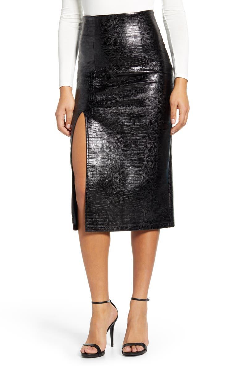 TOPSHOP Croc Faux Leather Pencil Skirt, Main, color, 001