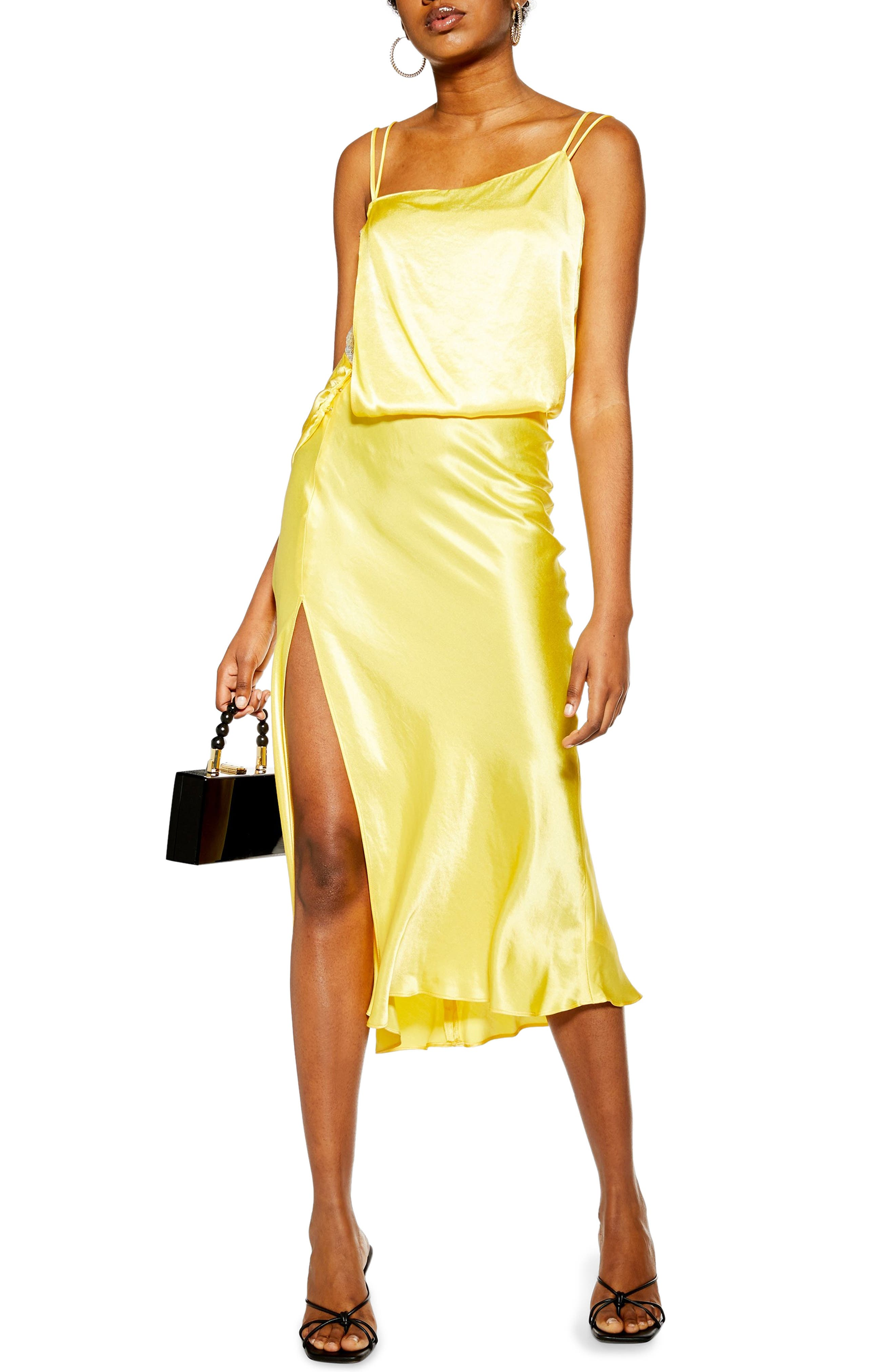 Topshop Embroidered Panel Satin Slipdress, US (fits like 0-2) - Yellow