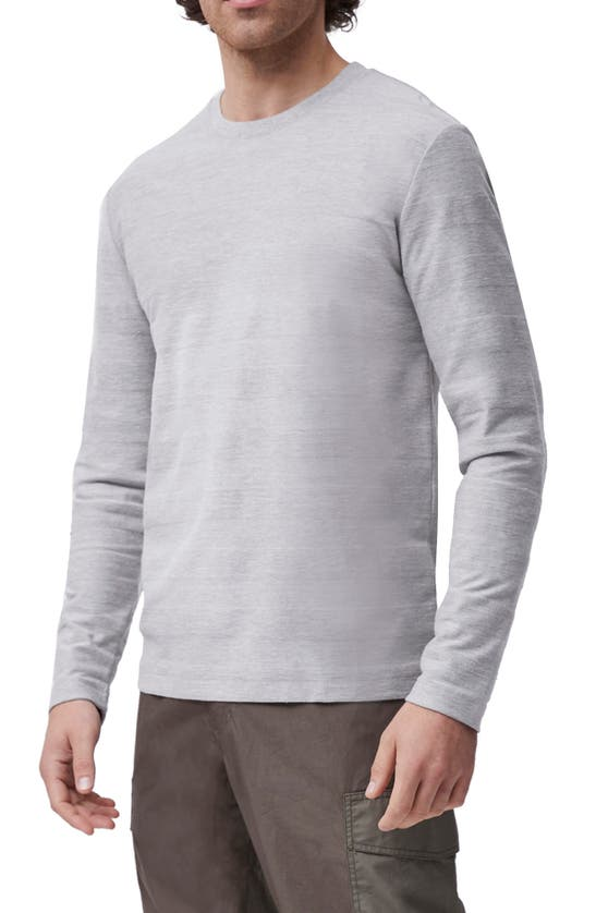 French Connection Textured Stripe Long Sleeve T-shirt In Light Grey Melange