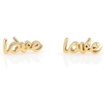 Kris Nations Love Script Stud Earrings