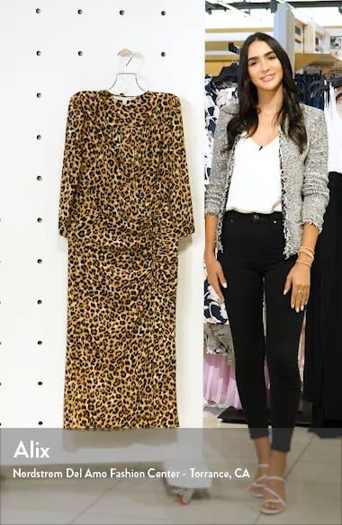 Arielle Leopard Print Stretch Silk Midi Dress, sales video thumbnail