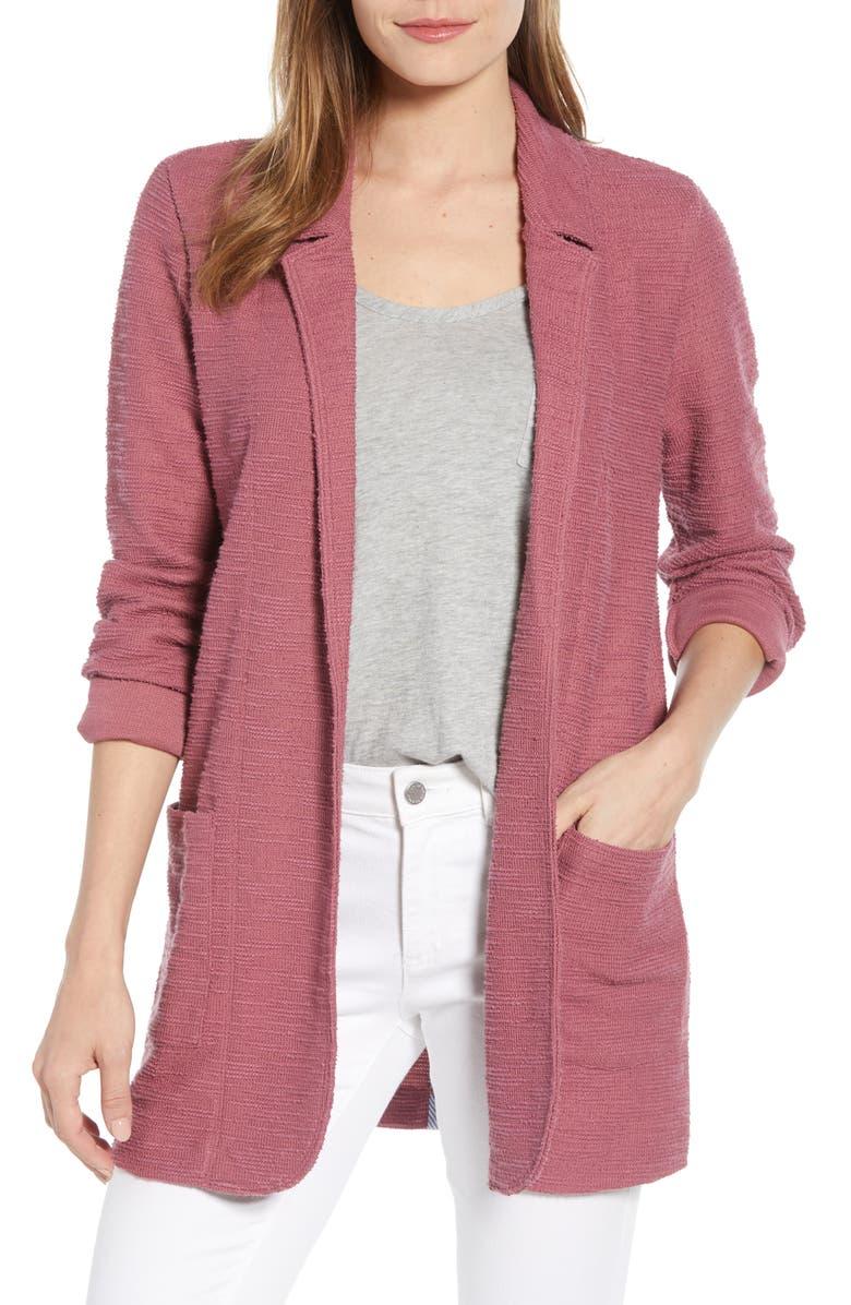 CASLON<SUP>®</SUP> Knit Boyfriend Blazer, Main, color, BURGUNDY THORN