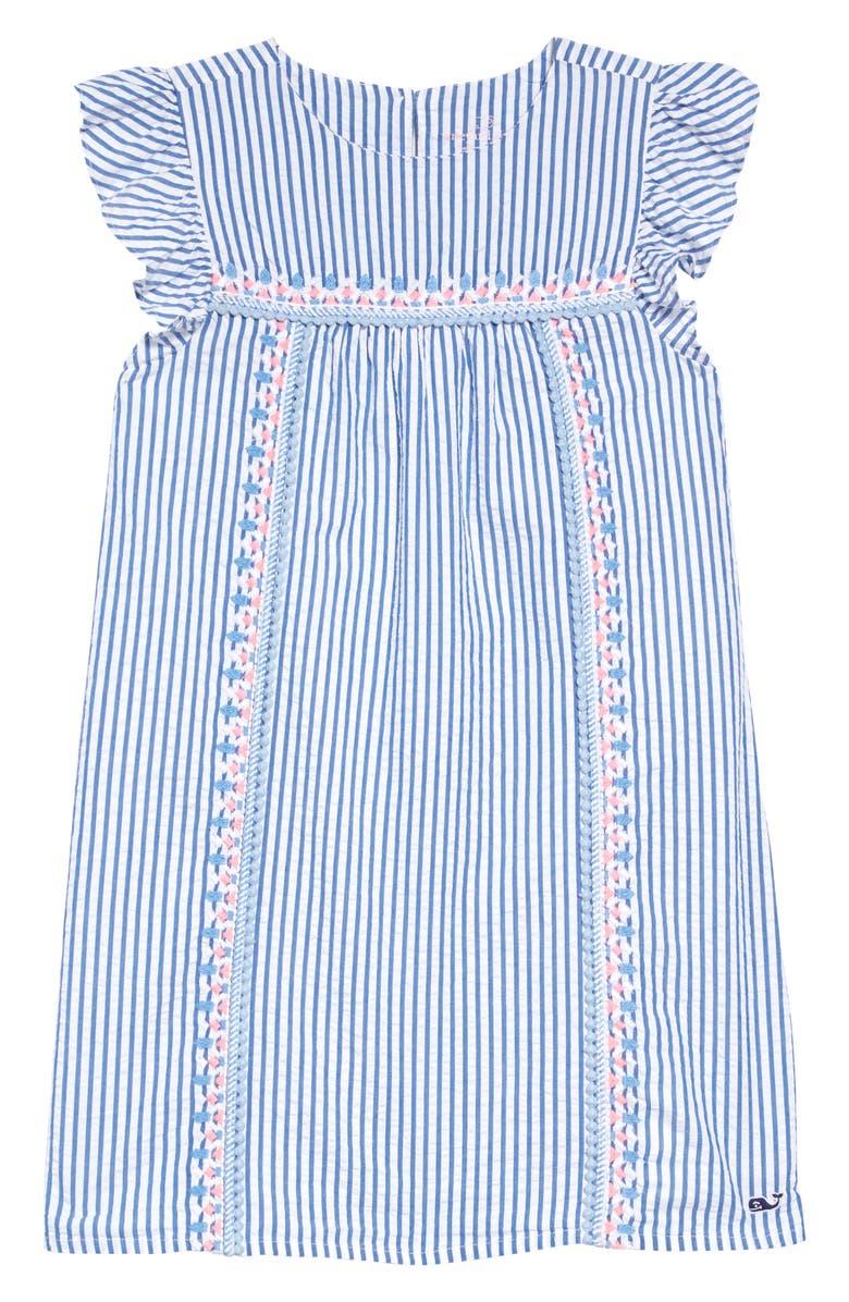 VINEYARD VINES Embroidered Seersucker Shift Dress, Main, color, CORNFLOWER