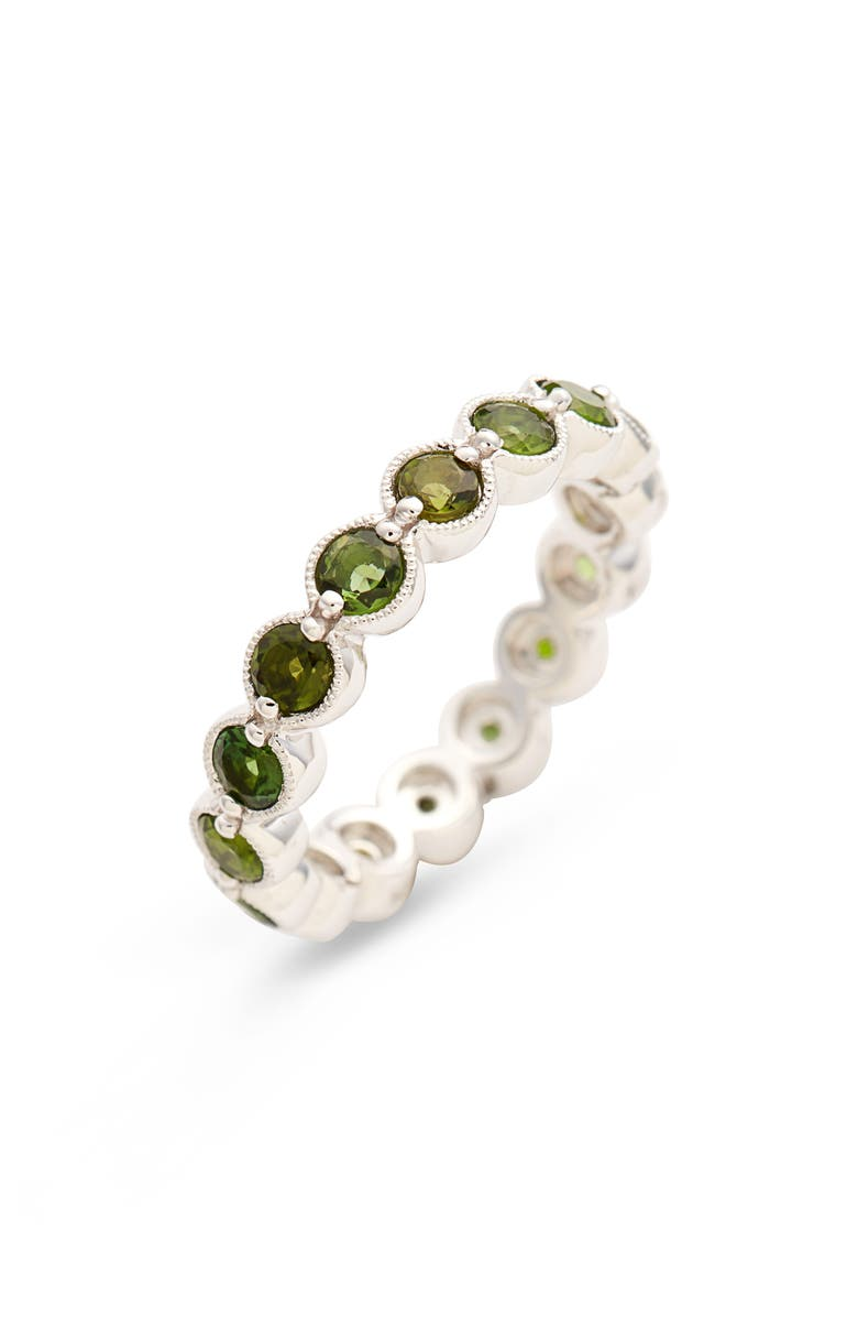 BONY LEVY Green Tourmaline Bezel Set Eternity Ring, Main, color, WHITE GOLD/ GREEN TOURMALINE