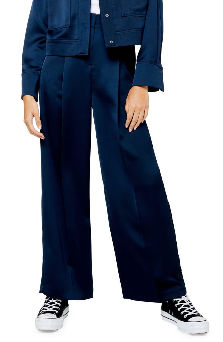 TOPSHOP Satin Wide Leg Trousers, Main, color, NAVY BLUE