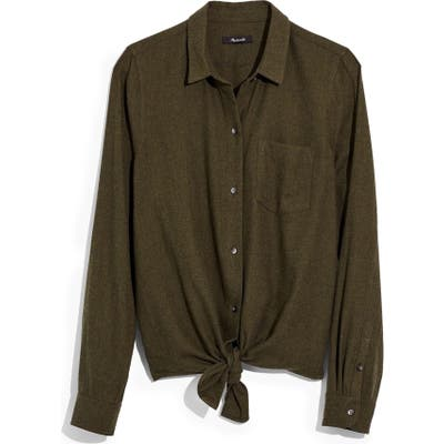 Madewell Flannel Tie-Front Shirt, Green