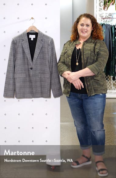 Windowpane Check Single Button Blazer, sales video thumbnail