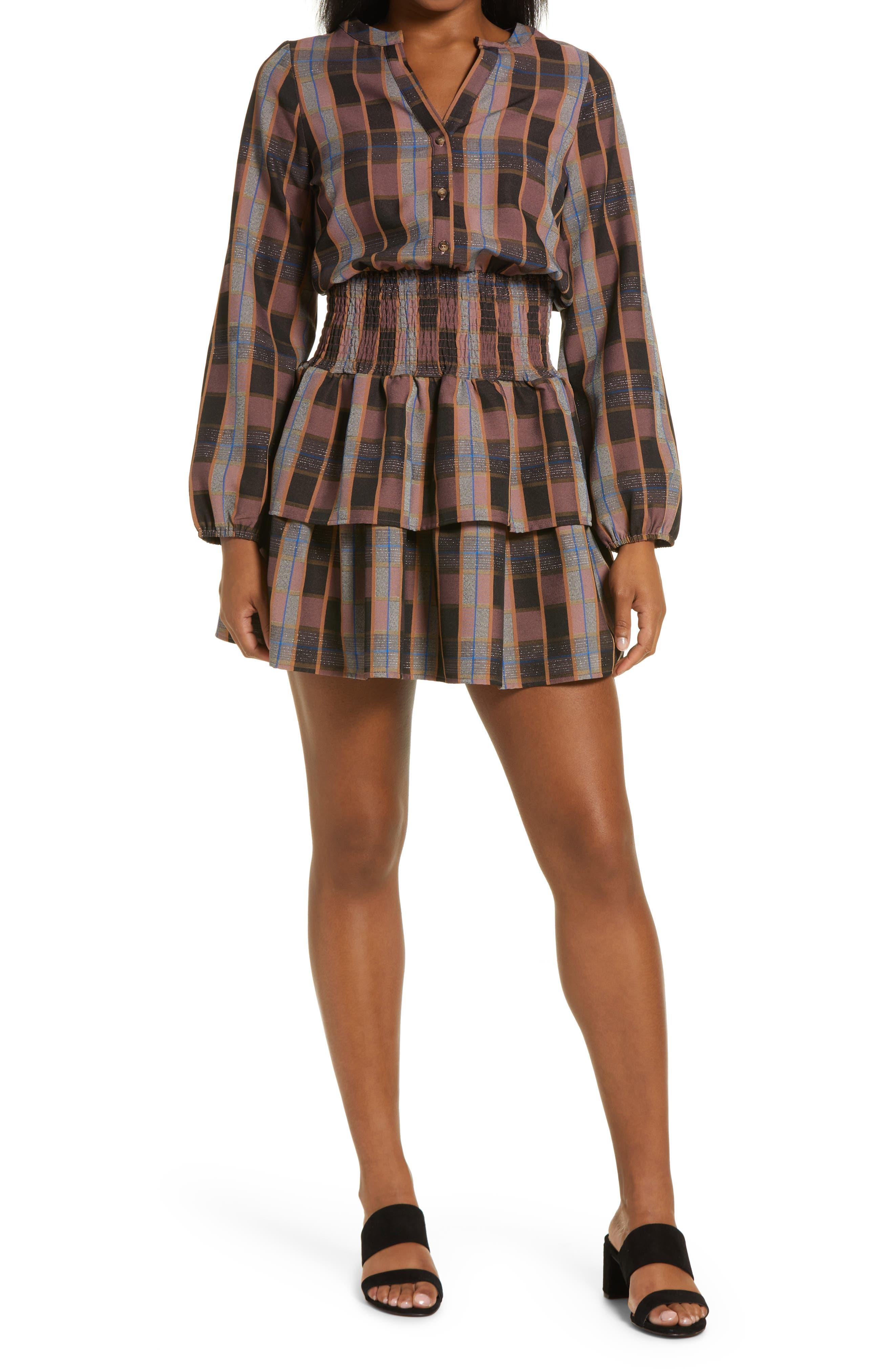 Metallic Thread Plaid Long Sleeve Dress