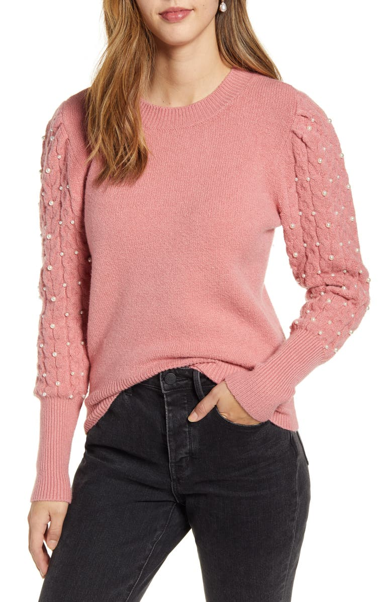 RACHEL PARCELL Imitation Pearl Embellished Puff Sleeve Sweater, Main, color, PINK COMPACT