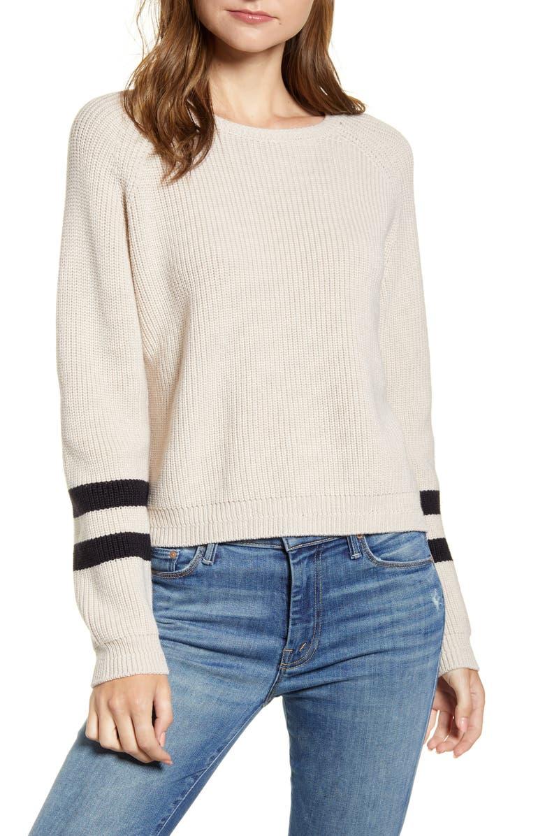 Velvet By Graham Spencer Stripe Sleeve Sweater